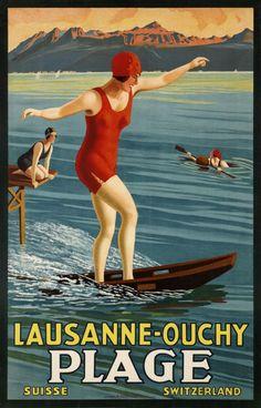 Lac Leman,Geroges J. Flemwell Lausanne-Ouchy Plage Suisse, Switzerland Année: 1926