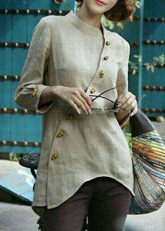 Blouse design idea and inspiration 021 fashion Kurta Designs, Blouse Designs, Mode Vintage, Mode Outfits, Linen Dresses, Indian Designer Wear, Sewing Clothes, Indian Wear, Dress Patterns