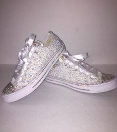 d06360459 KIDS Pearly White Glam Bedazzle Bling Converse All Star Chuck Taylor  Sneakers