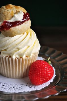 Imagine a cupcake inspired by the British afternoon tea staple; freshly baked scones filled with strawberry conserve and whipped cream. Amazing, yes? Well imagine no further! Below is our recipe for this indulgent cupcake treat. We've created a light