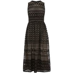 Warehouse Zig Zag Lace Midi Dress (£59) ❤ liked on Polyvore featuring dresses, black, women, stretch lace dress, lace midi dress, lace fit and flare dress, fit flare dress and lace dress