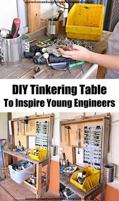 Bring out the 'E' in STEM with this DIY Tinkering Table to inspire young engineers. Lots of good ideas for reusing scrap materials!