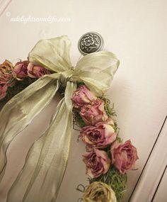 dried roses, spanish moss gold ribbon, Shabby Chic Christmas wreath