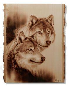 Wood Burned Wolves by Dennis Franzen