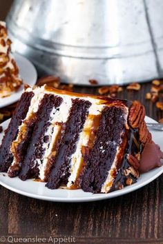 This Turtle Chocolate Layer Cake starts with rich, decadent and moist chocolate cake layers that are filled with a caramel pecan sauce and covered in a smooth caramel frosting, then finished off with a caramel and ganache drip and chopped pecans! Easy Appetizer Recipes, Dessert Recipes, Kraft Recipes, Dessert Ideas, Cake Ideas, Just Desserts, Delicious Desserts, Sweet & Easy, Chocolate Turtles