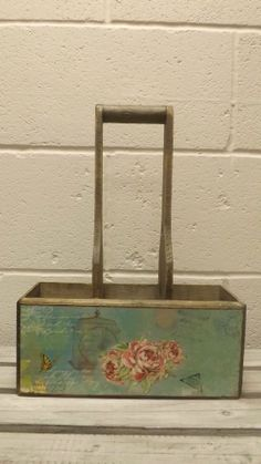 RUSTIC COUNTRY CADDY TRAY WITH HANDLE, BOTTLE HOLDER, COUNTRY KITCHEN STORAGE Available from  http://stores.ebay.co.uk/Dolly-Daydream-Boutique https://www.facebook.com/maisonroyale.co.uk