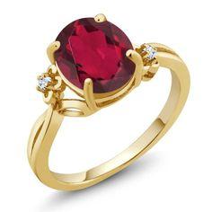 2.51 Ct Oval Ruby Red Mystic Quartz Topaz 14K Yellow Gold Ring, Women's, Size: 9