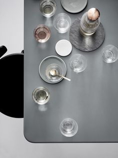 Lots of understated metallics in this table setting from norm glassware at houseandhold.com.