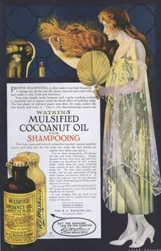 Going back to the good old days, eh Pintrest fans? Watkins Mulsified Cocoanut Oil for Shampooing [Watkins, USA, 1918]