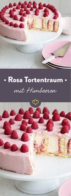 La vie en rose raspberry cake- La vie en rose Himbeertorte Nobody can resist this torture dream. The creamy-creamy cake with sweet raspberries is also worth every taster. Raspberry Desserts, Raspberry Cake, Pear And Almond Cake, Almond Cakes, Baking Recipes, Cake Recipes, Dessert Recipes, Food Cakes, Sweets Cake