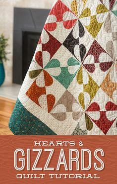 """""""The Hearts and Gizzards quilt block - mysterious name, but all-time classic. Jenny adds modern elegance to this vintage quilt in this free tutorial. Follow the link below to watch now! #MissouriStarQuiltCo #QuiltingForBeginners #HeartsAndGizzards #ClassicQuilt #Quilt """""""