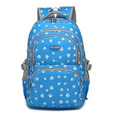 Tolife Cute Bear Footprints Casual Daypack Backpack Labtop Bag for Teen Boys Girls (blue). Waterproof Polyester. Approx dimensions 17.3 x 13.0 x 5.1 inch. Organizing Expert, 3 roomy main compartment with functional exterior pockets which are designed to fit your school required supplies and daily necessities. Compartments: 3 outer-front zip pockets, 2 sides pockets, 1 front zipped pocket and 1* laptop/tablet compartment with zip up pocket. lower bottom has a small zip up pocket. This…