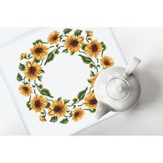 Cross stitch kit with mouline and napkin - Napkin - Sunflowers Cross Stitch Flowers, Cross Stitch Patterns, Winter Bouquet, Sunflower Pattern, Embroidery Monogram, Handmade Items, Handmade Gifts, Digital Pattern, Cross Stitching