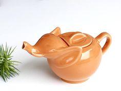 French vintage LIPTON elephant teapot - orange ceramic teapot - 1980s - Animal Teapot Ea Pot