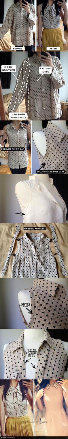 long sleeve blouse into sleeveless bow-front shirt