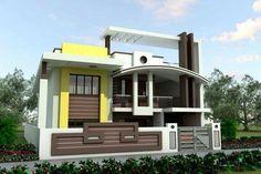 New Single Floor House Design, Duplex House Design, Modern House Design, 3d House Plans, Dream House Plans, Small House Plans, Building Elevation, House Elevation, Exterior Color Combinations