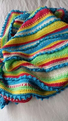 Beautiful crochet blanket - lovely happy colours to match a turquoise pushchair ☺ Crochet Afgans, Knit Crochet, Knitting Patterns, Crochet Patterns, Knit Blankets, Afghan Blanket, Happy Colors, Beautiful Crochet, Afghans