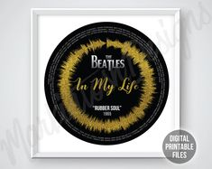In My Life Rubber Soul Radial Sound Wave and Lyrics art Beatles Songs, The Beatles, Rubber Soul Album, Printable Art, Printables, Gifts For My Boyfriend, Sound Waves, You Are The Father, Custom Art