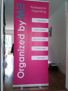 Deze mooie banner is de blikvanger van Organized by ME bij workshops en evenementen.