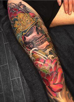 Tattoos I've done and tattoos I like Japanese Tattoo Art, Japanese Tattoo Designs, Japanese Sleeve Tattoos, Best Sleeve Tattoos, Skull Tattoo Flowers, Tattoos Skull, Leg Tattoos, Tatoos, Future Tattoos