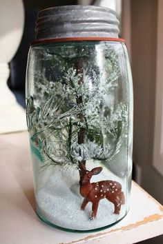 Mason Jar Christmas Scene