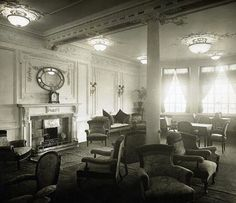 Another view of the Reading Room on the upper promenade of Titanic in 1912, Credit: Wikimedia