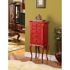 @Overstock - This dour-drawer jewelry armoire will bring an aura of tranquility to your home. Perfect for storing your favorite pieces of jewelry, this captivating jewelry organizer features a flip top lid with inset mirror and side doors.http://www.overstock.com/Home-Garden/Ningbo-4-drawer-Red-Jewelry-Armoire/5548838/product.html?CID=214117 $169.99