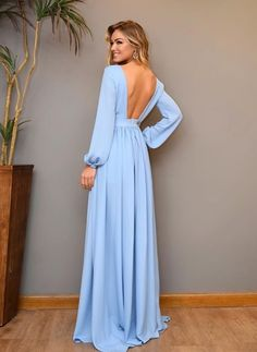 Plunging V Neck Prom Dress Light Blue Formal Gown Long Sleeves Chiffon Open Back sold by puffgirls. Shop more products from puffgirls on Storenvy, the home of independent small businesses all over the world. V Neck Prom Dresses, Blue Dresses, Evening Dresses, Bridesmaid Dresses, Elegant Dresses, Beautiful Dresses, Formal Dresses, Formal Gowns With Sleeves, Dress Outfits