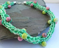 Soft green fabric necklace. woven jewellery with beads.