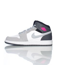 reputable site 0e83c 7595a JORDAN Mid top girl s sneaker Lace up closure AIR JORDAN swoosh logo on side  of shoe Cushioned sole for ultimate comfort