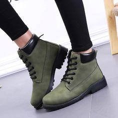 Popular Canvas Damen Wadenhohe Stiefel Schuhe Rund Flat Heel Schnürschuhe Freiz