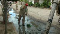 Vecinos realizan manifestación por fallas en el drenaje