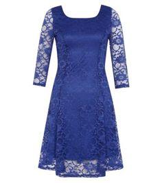 Navy 3/4 Sleeve Lace Skater Dress