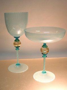 Venetian alzata goblets in filigree glass