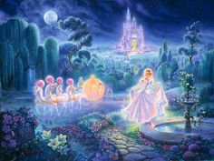 Cinderella by Tom duBois ~ Cinderella is one of a series of five created by duBois.The artist captured Cinderella at her most magical moment. Look for the hidden characters. They are all around you, Cinderella! Disney Dream, Cute Disney, Disney Magic, Walt Disney, Thomas Kinkade Disney, Cinderella Wallpaper, Cinderella Art, Disney Wallpaper, Disney Fan Art