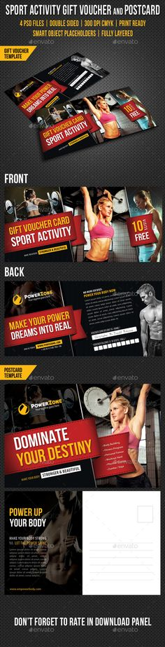 Sport Activity Gift Voucher and Postcard Template PSD | Download: http://graphicriver.net/item/sport-activity-gift-voucher-and-postcard-templates/9998108?ref=ksioks