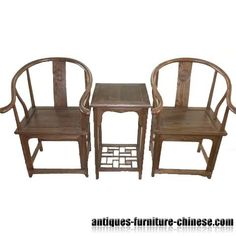 New Chinese chairs Carved in antique style, with table.