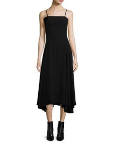 Flared+Fluid+Open-Back+Midi+Dress,+Black+by+McQ+Alexander+McQueen+at+Neiman+Marcus.