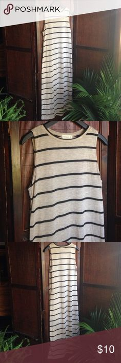 """NWOT Striped Dress Sleeveless cotton dress. length: front 47"""", back 49"""". color: cream & navy. in perfect condition, NEVER WORN! Dresses Maxi"""
