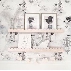 Waking up to this stunning  image by @mreiness! So much beauty! [@mrsmighetto prints available online @hellolittlebirdie] #kidsroom #kidsdecor #kidsinteriors #mrsmighetto #wallpaper #shelves #shelfie #nordicinteriors
