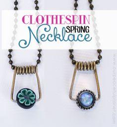 Clothespin Spring Necklace