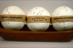 3 Lavender Bath Bombs, Bath Fizzy, Set of 3, All Natural Bath Bomb from Urban Soapsmith. Saved to H A N D M A D E * S O A P S .