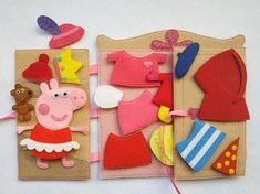 Peppa Pig Dress up doll felt clothes Quiet toy Felt Paper doll dressing Gift for girl non paper doll Toys For Girls, Gifts For Girls, Fabric Dolls, Paper Dolls, Peppa Pig Dress, Felt Doll House, Aniversario Peppa Pig, Felt Quiet Books, Dress Up Dolls