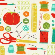 Sewing Box - Notions in Multi (Fabric from http://www.thevillagehaberdashery.co.uk/sewing-patchwork/fabric/sewing-box-notions-in-multi ) Item ID: 10010-11. Sewing Box is full of bright and graphic sewing icons inspired by designer Gina Martin's love of creating with fabric and all the tools that make it happen. Collection: Sewing Box. Designer: Gina Martin. Manufacturer: Moda. Fibre: 100% cotton. Width: 112cm / 44 inches