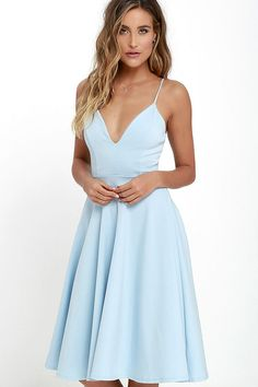 The Sugared Petals Light Blue Midi Dress will satisfy your sweet tooth! Medium-weight knit shapes a fitted bodice with plunging neckline. Hoco Dresses, Blue Bridesmaid Dresses, Dresses For Teens, Club Dresses, Formal Dresses, Light Blue Midi Dress, Light Blue Dresses, Summer Wedding Outfits, Dresses To Wear To A Wedding