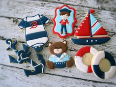 Nautical themed cookies for a little boys birthday