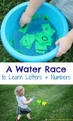 Toddler and preschoolers will love this water race to learn letters and numbers! Outdoor Games For Preschoolers, Outdoor Water Activities, Water Games For Kids, Indoor Activities For Kids, Outdoor Learning, Toddler Activities, Family Activities, Kid Games, Outdoor Play