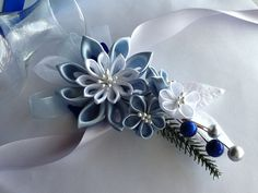 Corsage Baby Blue Light Blue White Kanzashi by LihiniCreations