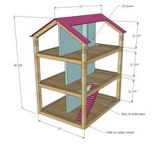 Ana White Build a Dream Dollhouse Free and Easy DIY Project and Furniture Plans Diy Barbie Furniture, Diy Furniture Plans, Diy Dollhouse Furniture Easy, Modern Dollhouse, Dream Furniture, Dollhouse Dolls, Toddler Dollhouse, Dollhouse Bookcase, Cardboard Dollhouse