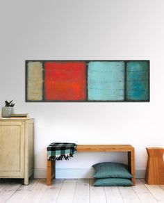 Landscape Abstract painting  The Blue Red and Grey door RonaldHunter, $399.00